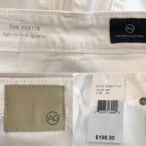 Ag Adriano Goldschmied Jeans - NWT AG Adriano Goldschmeid White The Yvette Jean
